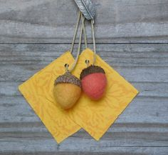 6 felted acorn gift tags or place cards - choice of color - merino wool