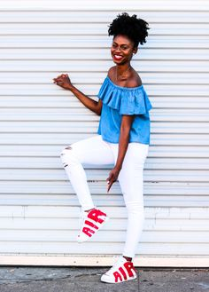 How To Wear An Off The Shoulder Top With Sneakers