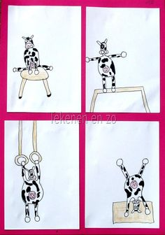 You need: white drawing paper size black and pink marker pink paper for background glue scissors 'Sporting cows, I can't draw that! Cow Drawing, Drawing Sheet, Artists For Kids, Art For Kids, Giraffes Cant Dance, Black Construction Paper, Student Drawing, Cow Art, Chalk Pastels