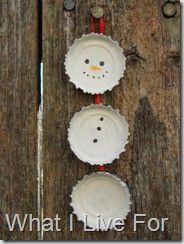 White bottle cap ornament