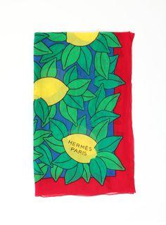 Lemon Print Pareo Scarf Fashion Textiles, Lemon Print, Hermes Paris
