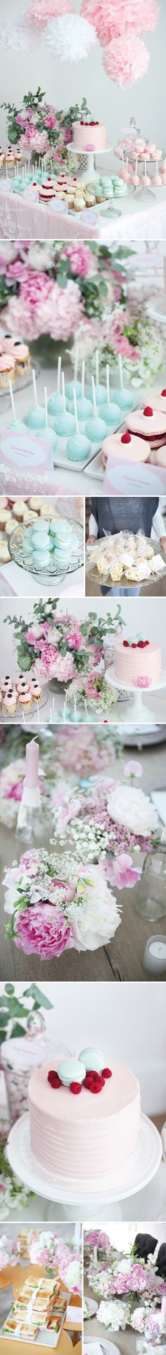 Mint & pink baby shower party ideas // kids party ideas - Home Page Shower Party, Baby Shower Parties, Baby Shower Themes, Bridal Shower, Shower Ideas, Party Fiesta, Festa Party, Pastell Party, Comida Para Baby Shower