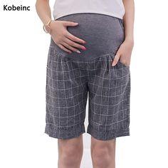 Plaid Linen Maternity Shorts Care Belly Elastic Waist
