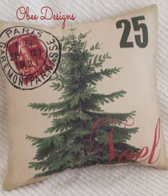 Vintage French Noel Postcard Christmas PILLOW in by Obeedesigns