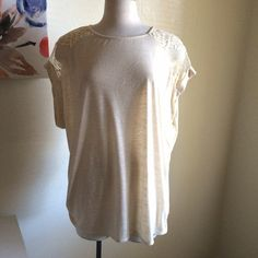 Ava & Viv tee Very pretty! It's a cream colored tee. It has lace across the back of the shoulders. Cuffed sleeves. Very soft and stretchy. New with tags. Ava & Viv Tops Tees - Short Sleeve