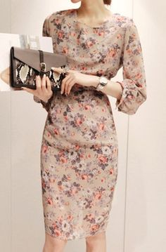 Vintage Inspired High Waist Beige Floral Chiffon Sheath Dress