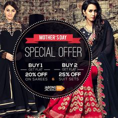 Avail special #MothersDay discounts on select range of suits and sarees. Use code MOM20 for 1 product and MOM25 for 2 or more products while buying. Click here http://www.jabongworld.com/women/salwar-kameez.html?dir=desc&order=bestsellers&p=3&ref=newnav&shipmenttype=168&utm_source=Emailer&utm_medium=04May&utm_campaign=04May2015&hq_e=el&hq_m=2489898&hq_l=1&hq_v=2d7a3ada2f&utm_source=ViralCurryOrganic&utm_medium=Pinterest&utm_campaign=mothersday-06-may2015  #SpecialOffer #discounts #mothersday