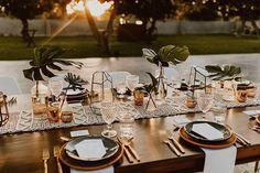 Boho Wedding at Acre Los Cabos Mexico Everyday Pursuits Wedding - Table Settings Wedding Table Centerpieces, Wedding Table Settings, Wedding Flower Arrangements, Reception Decorations, Table Decorations, Centerpiece Ideas, Tropical Centerpieces, Reception Ideas, Wedding Flowers