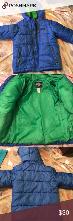 OshKosh boys jacket Blue puffer jacket. Rain resistant. Used a handful of times (we live in a warm climate, not much use for heavy jackets). No rips, tares or stains. Size 4t. Colors are discontinued. Puffer jackets in 4t are no longer available. Osh Kosh Jackets & Coats Puffers