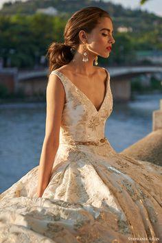 stephanie allin bridal 2017 sleeveless vneck ball gown wedding dress (octavia) zv gold color
