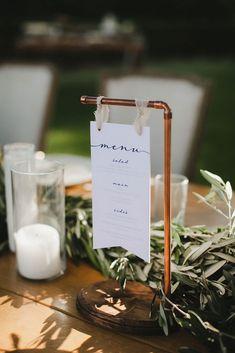 hanging simple menus for industrial wedding reception