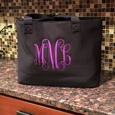 Personalized Neoprene Tote Bag - Cooler Bag - Cooler Tote Bag - Monogrammed Tote by MJMonograms on Etsy