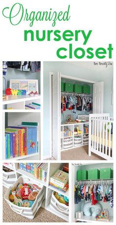 Organized nursery closet featuring The Land of Nod grey and white bins.