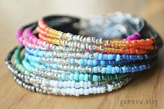 NEW Colors // Dainty Friendship Bracelet // Adjustable // Ombre (1)