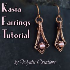 Kasia Earrings Tutorial Best Picture For DIY Wire Earrings tutorials For Your Taste You are looking for something, and it is going to tell you exactly what you are looking for, and you di Old Jewelry, Simple Jewelry, Jewelry Crafts, Wire Wrapped Jewelry, Wire Jewelry, Jewellery, Beaded Jewelry, Bijoux Fil Aluminium, Earring Tutorial