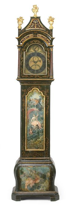 Antique parcel gilt paint decorated musical tall case clock by Percival Mann, London, England, 2nd half 18th Cent.
