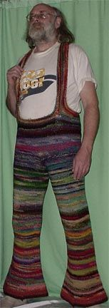 These rainbow knit trousers are a lot to take in.  Would you ever wear such a bold garment of knitwear?