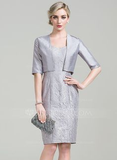 [US$ 89.99] Sheath/Column Sweetheart Knee-Length Lace Mother of the Bride Dress (008085306)