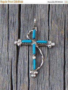 Zuni Turquoise Needlepoint Cross Silver Pendant, Zuni Turquoise Pendant, Turquoise Cross Pendant, Silver Pendant, Needlepoint Cross Pendant