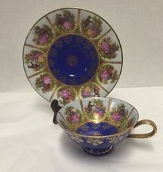 Carlsbad-JKW-Cup-Saucer-Bavaria-West-Germany-Love-Story-Couples-Courting