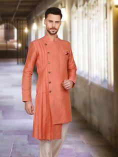 Peach Designer Plain Raw Silk Kurta Suit, kurta suit for men, mens indian fashiion, fashion for men, Mens Indian Wear, Mens Ethnic Wear, Indian Groom Wear, Indian Men Fashion, Mens Fashion, Fashion Suits, Kids Kurta, Kurta Men, Mens Sherwani