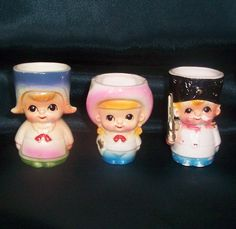 Dutch girl, cowgirl and soldier egg cups. Part of the Egg-Centric Collection, Australia