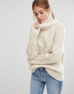 People Tree | People Tree - Pull oversize à col montant torsadé tricoté à la main avec laine non blanchie