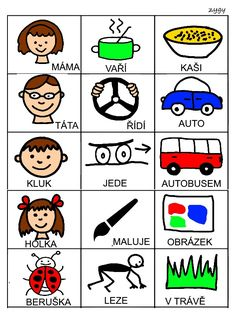 Skladame jednoduche vety Speech Therapy, Writing Tips, Montessori, Activities For Kids, Album, Teaching, Comics, Logos, Educational Toys