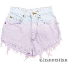 "Hanmattan ""MACAROON"" vintage high waisted studded denim cutoff shorts... ($40) ❤ liked on Polyvore"