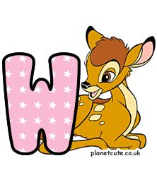 Planet Cute - Alphabet - Bambi - Image Disney Letters, Cute Alphabet, Letter W, Letters And Numbers, Bambi, Winnie The Pooh, Disney Characters, Fictional Characters, Image