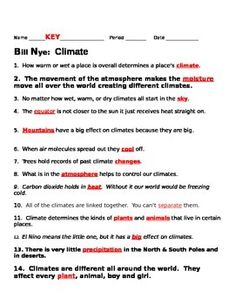 Bill Nye Climate Video Guide Sheet Bill Nye Bill Nye