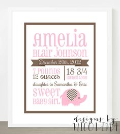 "THE AMELIA - 8"" x 10"" Custom Designed Nursery Poster Wall Art - baby name and birth stats - chevron elephant"