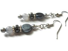 Gray Pearl Earrings Hematite Earrings Black by chicagolandia, $18.00