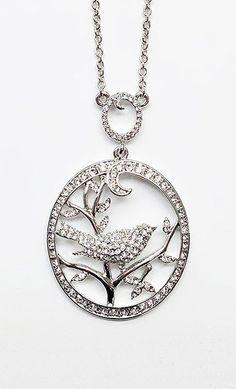 Crystal & Silver Bird Pendant Necklace