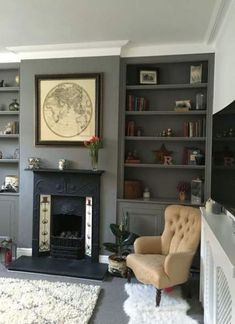 Back room/ lounge Farrow and Ball Moles Breath / Victorian Living Room / Shelf styling / grey living room Living Room Shelves, Living Room Storage, Living Room With Fireplace, Living Room Grey, Home Living Room, Farrow And Ball Living Room, Wall Storage, Small Fireplace, Living Area