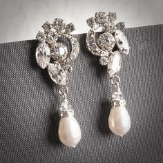 VALORA, Wedding Bridal Earrings, Swarovski Crystal and Pearl Bridal Drop Earrings, Oval Rhinestone Wedding Earring, Vintage Inspired Jewelry by GlamorousBijoux on Etsy https://www.etsy.com/listing/99674539/valora-wedding-bridal-earrings-swarovski