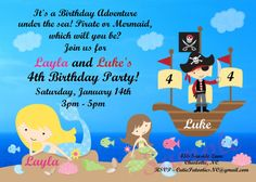 Pirate and Mermaid Birthday Invitation by CutiesTieDyeBoutique, $15.00