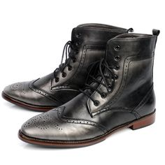Men Metallic Gray Lace Up Retro Gothic Fashion Dress Brogue Ankle Boots SKU-1280469