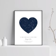 Looking for wedding or anniversary gift for couple? ❤️ This personalized constellation map shows the unique night sky and stars at an exact location and time you provide. You can choose any date in th Constellation Map, Constellations, Anniversary Gifts For Couples, Last Minute Gifts, Star Chart, Couple Gifts, Online Printing, Printing Services, Custom Map