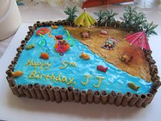 "Beach cake - I think I'll do something like this for Josie's pool party. I like the ""pier"" cookies around the outside."