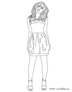 Demi Lovato face view coloring page. More famous people coloring sheets on hellokids.com