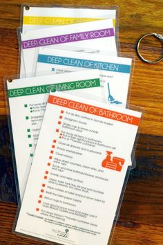 Deep Cleaning and Fast Cleaning Printable Reference Cards, Deep Cleaning Tips, Cleaning Checklist, House Cleaning Tips, Car Cleaning, Spring Cleaning, Cleaning Hacks, Cleaning Schedules, Cleaning Lists, Zone Cleaning