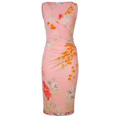 LEONARD Tropical Peach Floral Print Dress ($1,725) ❤ liked on Polyvore
