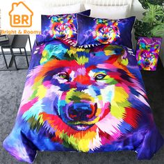 BeddingOutlet Wolf Bedding Set Watercolor Art Duvet Cover Set Animal Print Home Textiles Colorful Bedclothes Queen Blanket Cover, Quilt Cover, Duvet Bedding Sets, Linen Bedding, Wolf 3d, Colorful Bedding, Unique Bedding, Custom Bedding, Watercolor Wolf