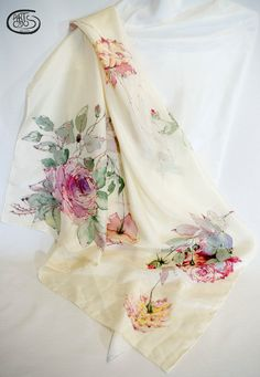 Scarf of pink roses with green leaves on a broken by Artodos Hand Painted Sarees, Hand Painted Fabric, Painted Silk, Dress Painting, Fabric Painting, Fabric Paint Shirt, Fabric Paint Designs, Silk Art, Painted Clothes