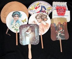 hand held fans or church fans with advertisements