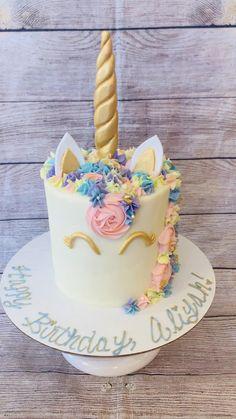 Diy Unicorn Birthday Cake, Beautiful Birthday Cakes, Baby Birthday Cakes, Rainbow Birthday Cakes, Birthday Cake For Kids, Unicorn Rainbow Cake, Unicorn Themed Cake, Unicorn Cakes, 5th Birthday