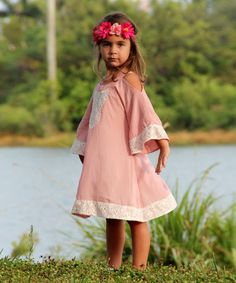 Another great find on #zulily! Pink & Ivory Cold Shoulder Cutout Dress - Toddler & Girls by Mia Belle Baby #zulilyfinds