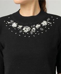 PAR ICI(パーリッシィ)の「コットンワッフル編 ビーズ刺繍5分袖プルオーバー(ニット/セーター)」|詳細画像