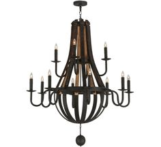 Barrel Steve Madera 12 LT Extra Large Wood and Iron Chandelier